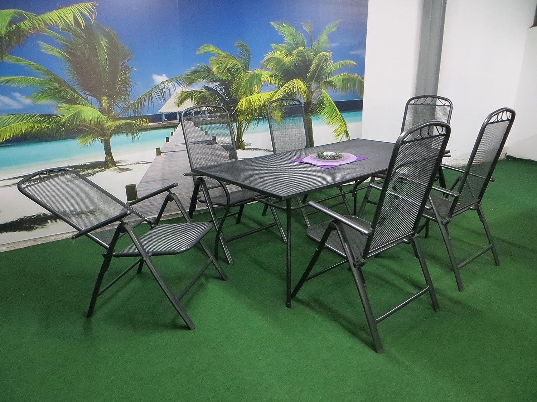 7-teilige Luxus Streckmetall Gartenmöbelgruppe von RRR, Klappsessel und Gartentisch 180×90 anthrazit, P24 günstig