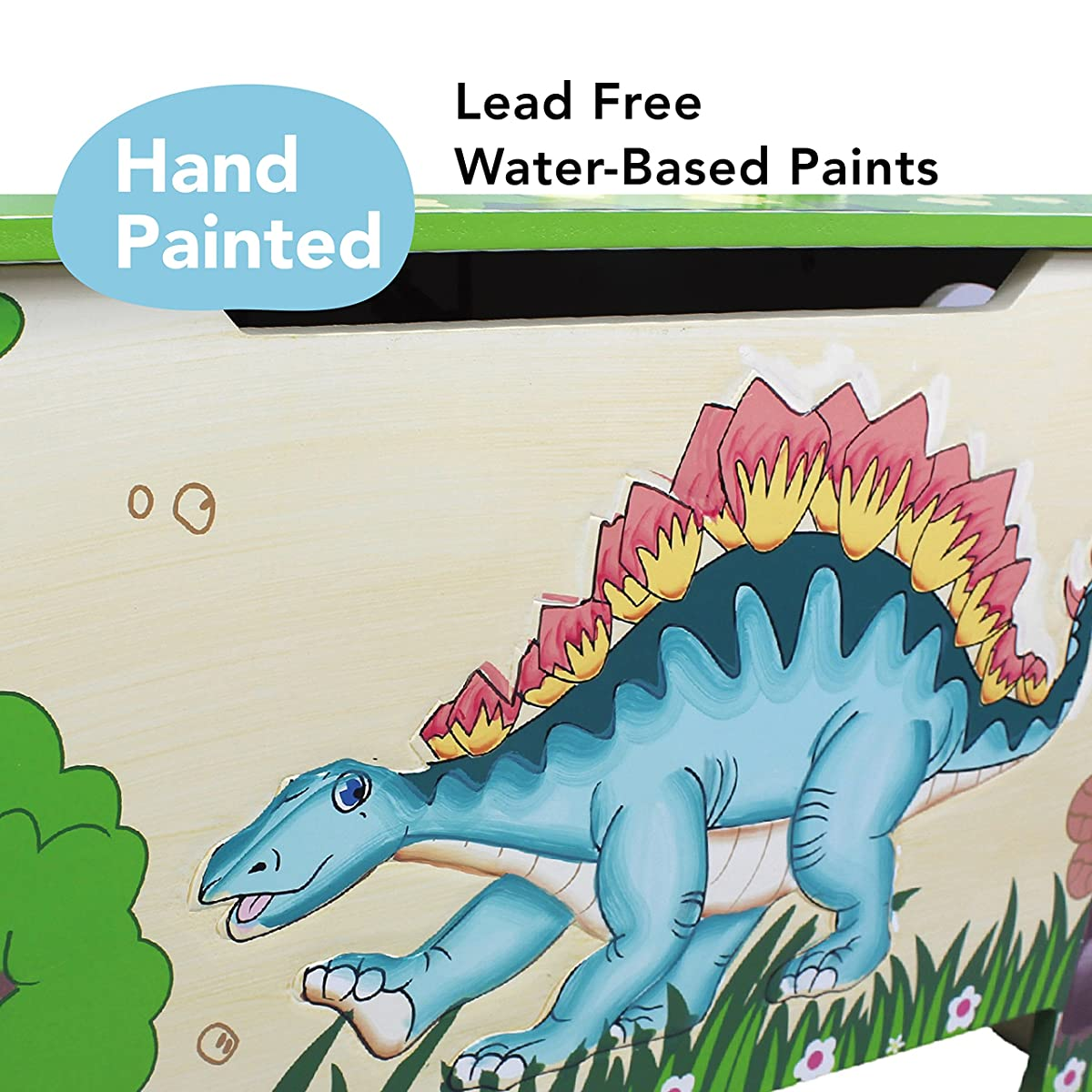 Fantasy Fields - Dinosaur Kingdom Thematic Kids Wooden Toy Chest with Safety Hinges | Imagination Inspiring Hand Crafted & Hand Painted Details | Non-Toxic, Lead Free Water-based Paint