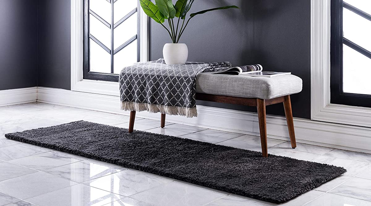 Unique Loom Solo Collection Plush Casual Charcoal Runner Rug (2 x 7)