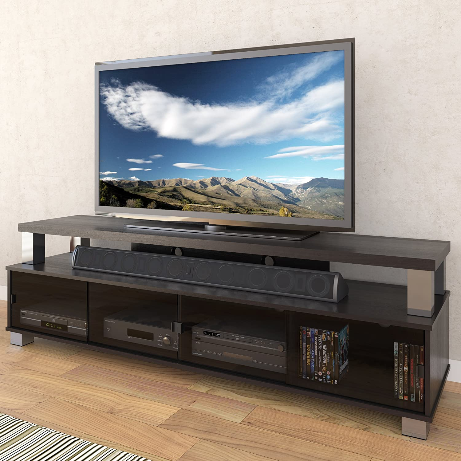 Sonax Bromley 75 Inches 2 Tier Tv Bench In Ravenwood Black