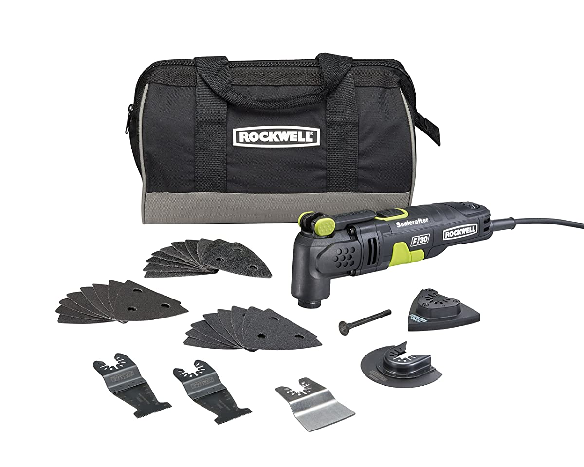 Rockwell RK5132K 3.5 Amp Sonicrafter F30 Oscillating Multi-Tool, with Variable Speed, Hyperlock Clamping, Vibrafree Technology, and Universal Fit System, 32-Piece Kit with Carry Bag
