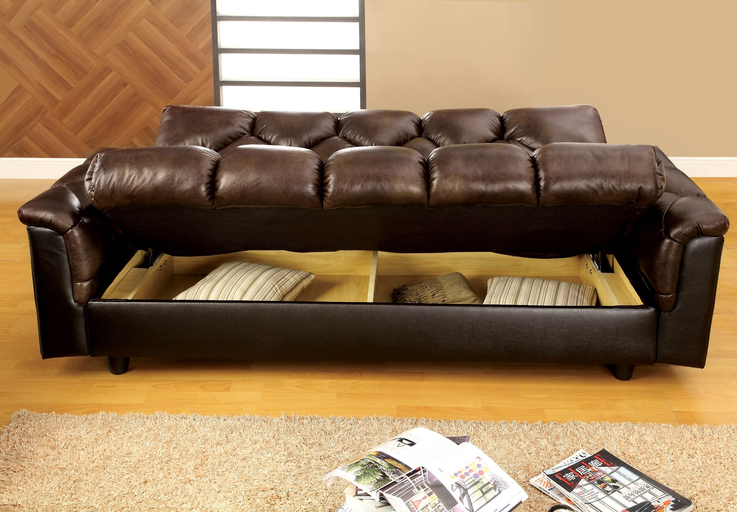 Furniture of America Montclaire Leather Vinyl Storage Futon