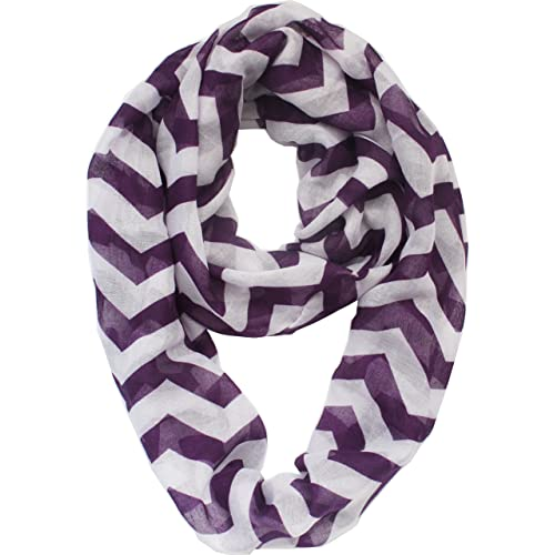 Vivian & Vincent Soft Light Weight Zig Zag Chevron Sheer Infinity Scarf (Big Chevron Purple/White)