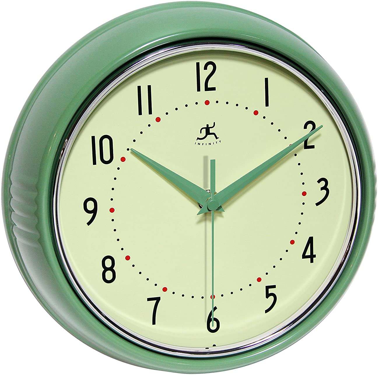 Infinity Instruments Retro 9-1/2-Inch Round Metal Wall Clock, Green 0