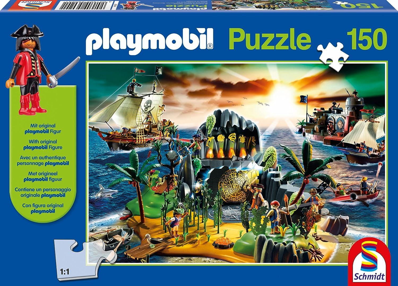 Schmidt Spiele 56020 – Playmobil, Pirateninsel, 150 Teile als Geschenk