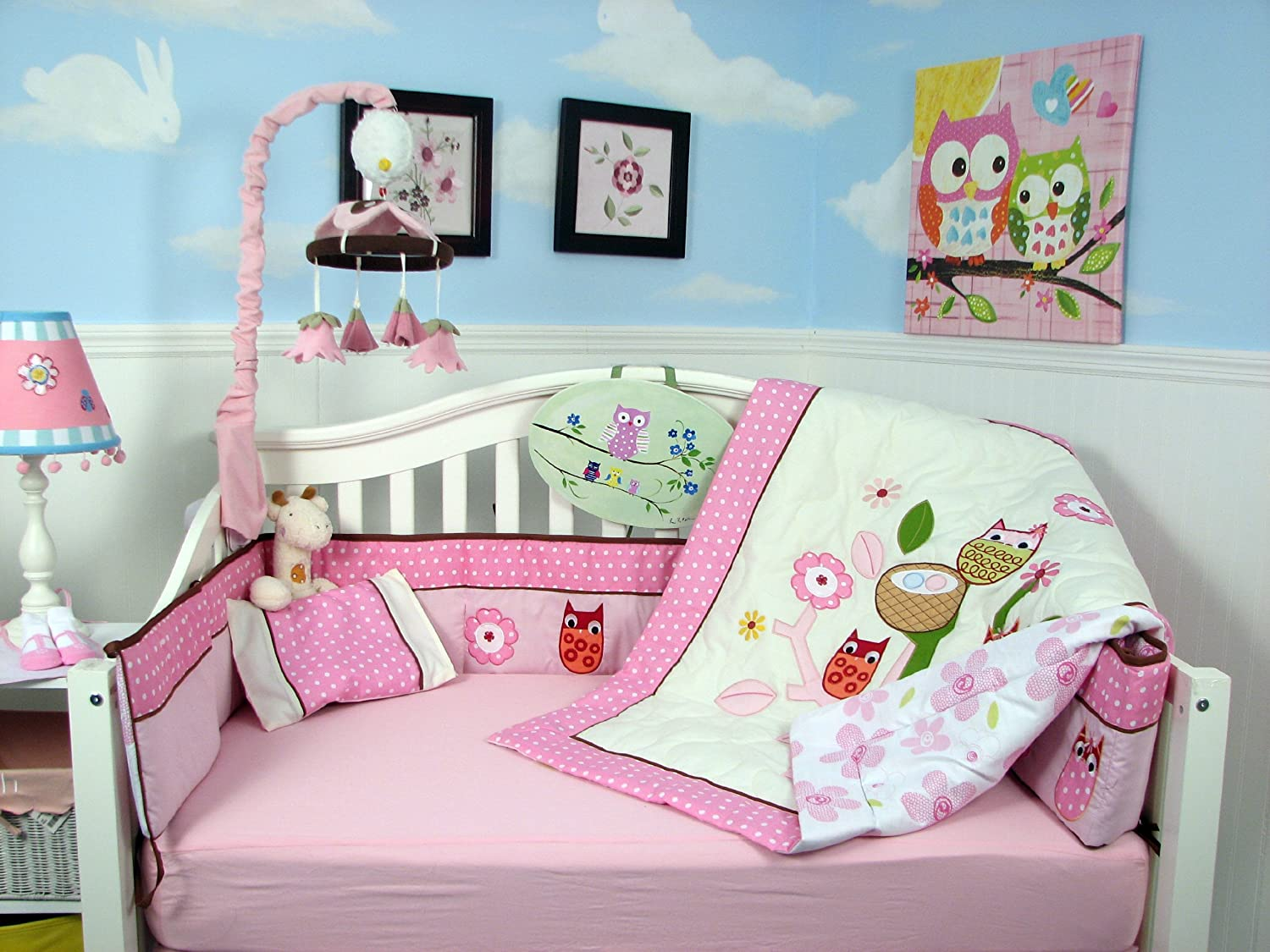 SoHo Owl Tree Party Baby Crib Nursery Bedding Set