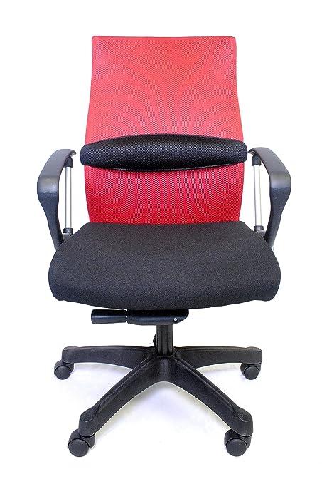 Century Office ZipAir SwivelHeight Adjustable Mesh Office Chair, Red