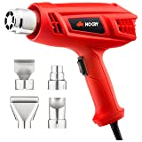 NoCry Electric Heat Gun Kit - with 1500 Watt/12.5A Motor and Dual 662/1022°F Temperature Settings, 4-pc Nozzle Accessories Set Included (Color: Red)