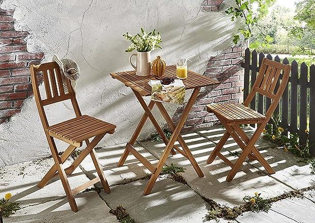 SAM® Set da giardino, 3 pezzi, mobile da balcone in legno d´acacia, 1 tavolo + 2 sedie, pieghevole e oleato