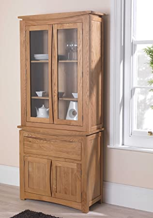 Crescent Solid Oak Furniture Small Glazed Dresser Display Cabinet
