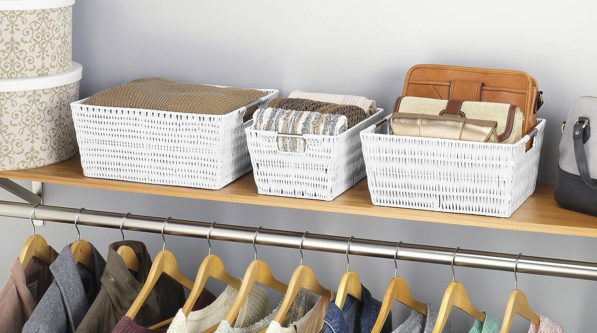 Whitmor Rattique Storage Baskets Set of 3 White