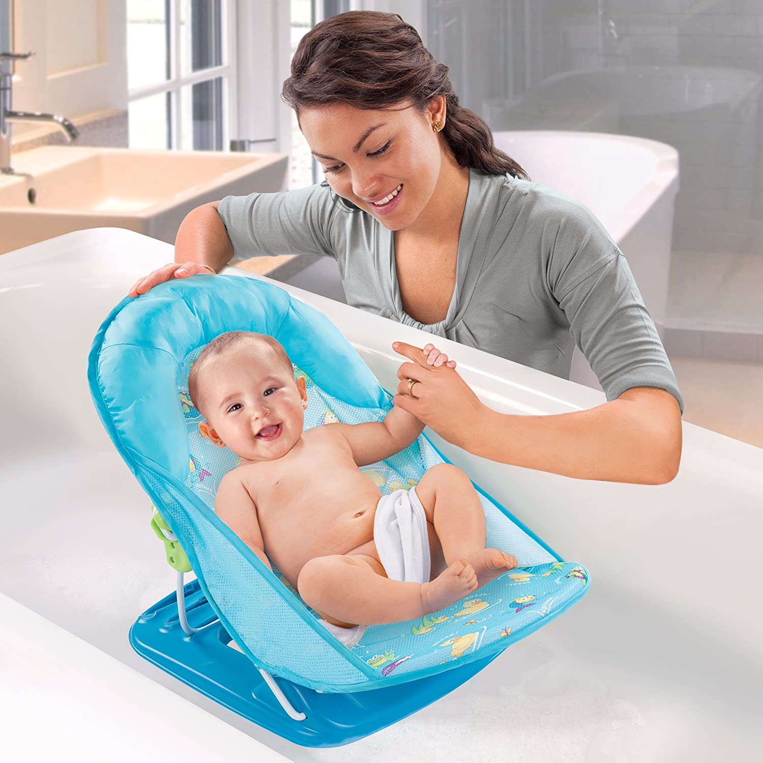 summer infant baby bath bather chair seat blue adjustable 18500 folding new fs ebay. Black Bedroom Furniture Sets. Home Design Ideas