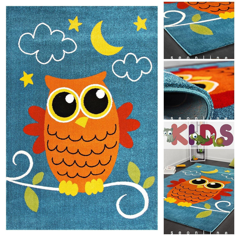 Exklusiver Kinderteppich mit Eule in Blau Rot Orange | Moderner Kinder Teppich Spielteppich für Mädchen & Jungen | Hochwertiger Kids Läufer Teppiche mit Eulen Tier Motiv Bunt für Kinderzimmer, Babyzimmer oder Spielzimmer, Farbe:Blau;Größe:120×170 cm bestellen