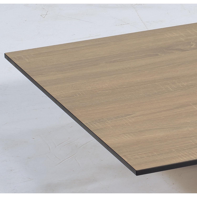 Sonnenpartner Tisch Base Gestell Alu champagner Platte HPL eichesägerau 90x90cm günstig online kaufen