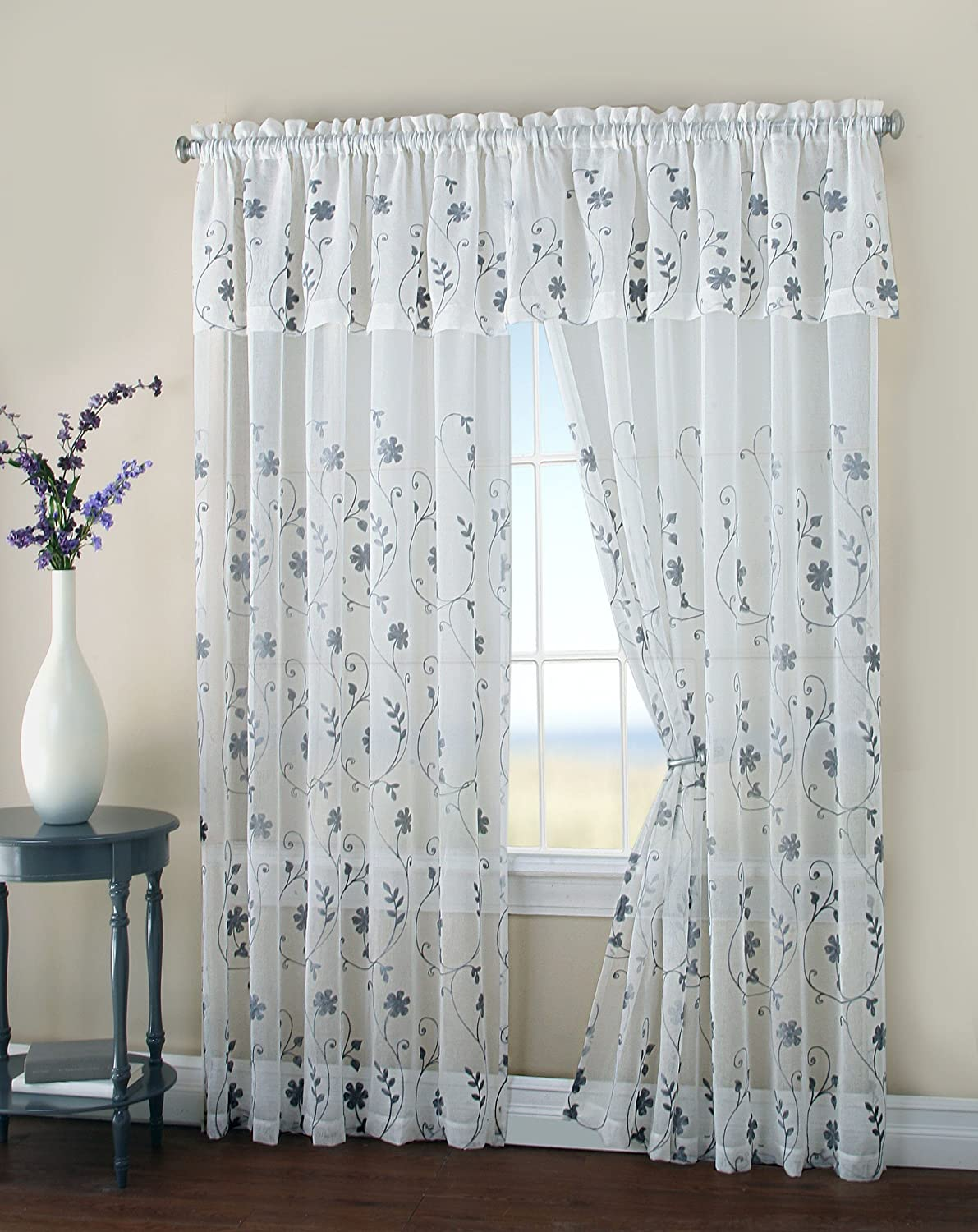 malta two floral embroidery matte sheer window curtain w. Black Bedroom Furniture Sets. Home Design Ideas