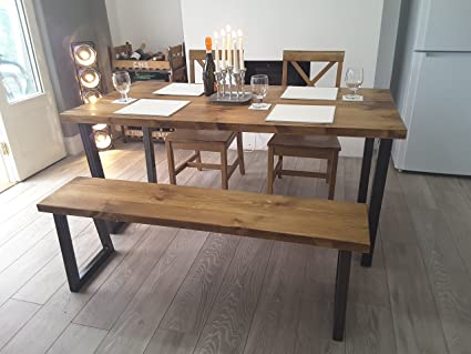 Brinkley Rustic Industrial Reclaimed Wood Dining Table Metal U frame 160 x 80cm UK made (Table Only)