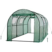 Ogrow Two Door Walk-In Tunnel Greenhouse With Ventilation Windows and Steel Frame 15' x 6' x 6' (Green)