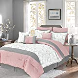 Sweet Home Collection Comforter 11 Piece Soft and Luxurious with Sheet Set, Shams, Decorative Pillows, and Bed Skirt Queen Paris Postal (Color: Paris Postal, Tamaño: Queen)