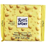 Ritter Sport, White Chocolate with Whole Hazelnuts, 3.5-Ounce Bars (Pack of 10) (Tamaño: 3.5 Ounces)