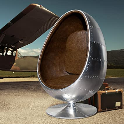 Design Lounge Sessel Sitzei SPACE EGG Alu Silber vintage braun