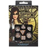 Q Workshop Steampunk Clockwork Caramel & White Dice Set (7 Piece)