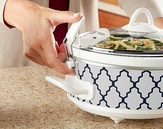 AmazonSmile: Crockpot SCCPCCM250-BT Mini Casserole Crock Slow Cooker, 2.5 quart, White/Blue: Kitchen & Dining