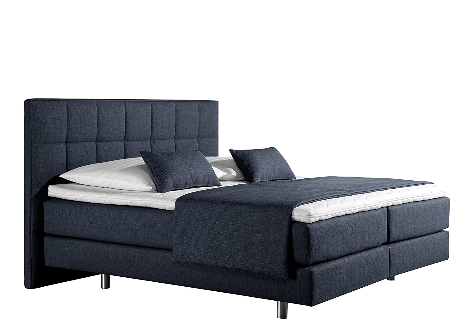 Maintal Betten 237456-3169 Boxspringbett Neon 160 x 200 cm, Strukturstoff denim-blau