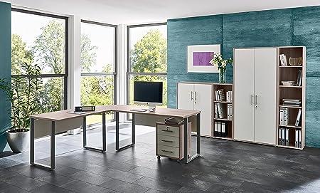 Buromöbel Arbeitszimmer komplett Set OFFICE EDITION (Set 4) mit Winkelschreibtisch, abschließbarem Rollcontainer, 2 abschließbaren Aktenschränken und 2 Aktenregalen in Sandeiche / Weiß, Metallgriffe, Made in Germany