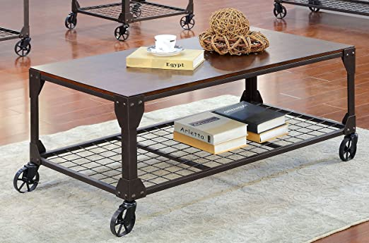 Furniture of America Kastas Industrial Coffee Table, Black