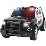 Best Choice Products 12V Kids Powered Ford Style Police RC Remote Ride-On SUV Car w/ Parent Control, 2 Speeds, LED Lights, AUX, Sirens - Black (Color: Black)