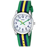 Timex Boys TW7C10100 Time Machines Metal Green/Blue/Yellow Stripes Nylon Strap Watch (Color: Green/Blue/Yellow Stripes)