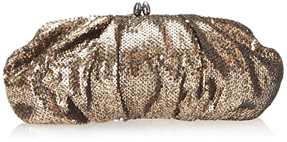 La Regale Sequin Pouch Clutch,Gold,One Size