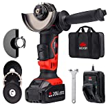 """NoCry 20V Cordless 4 1/2"""" Angle Grinder Kit - 10,000 RPM Max Speed; 4.0 Ah Battery, Fast Charger, Carrying Case & 7 Accessories Included (Color: Black & Red)"""