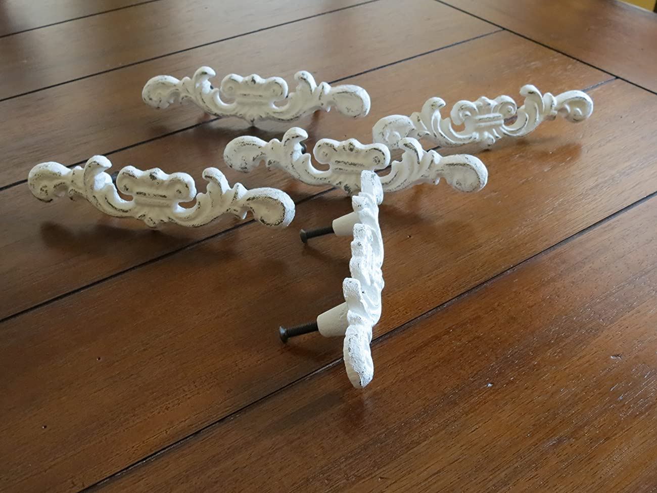 Shabby Chic Drawer Pulls/ Dresser Knobs/ Antique White or Pick your Color/Cottage Chic Dresser Pulls	 1