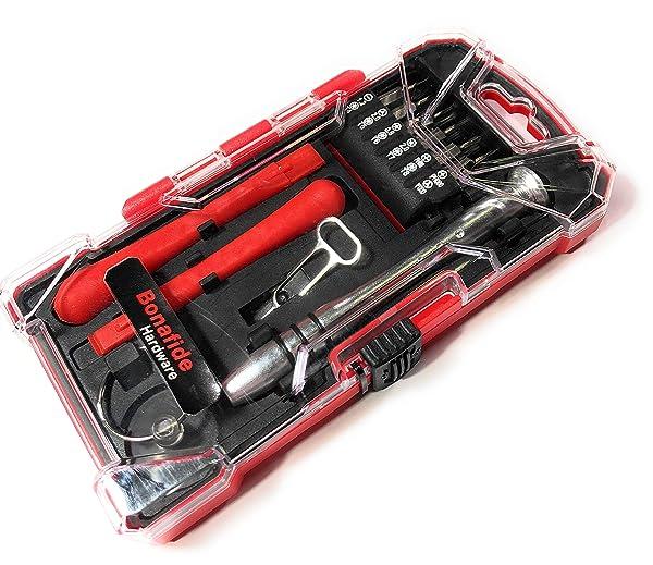 Bonafide Hardware - Smart Phone Repair Tool Kit 17 Piece Set Screw Driver Torx Pentalobe Cell Tools (Color: Red)