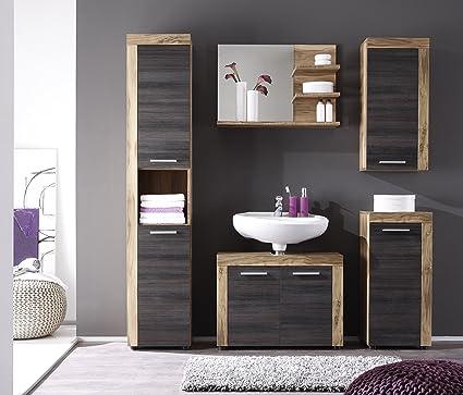 Furnline Cancun Walnut Satin Bathroom Furniture Set, Brown