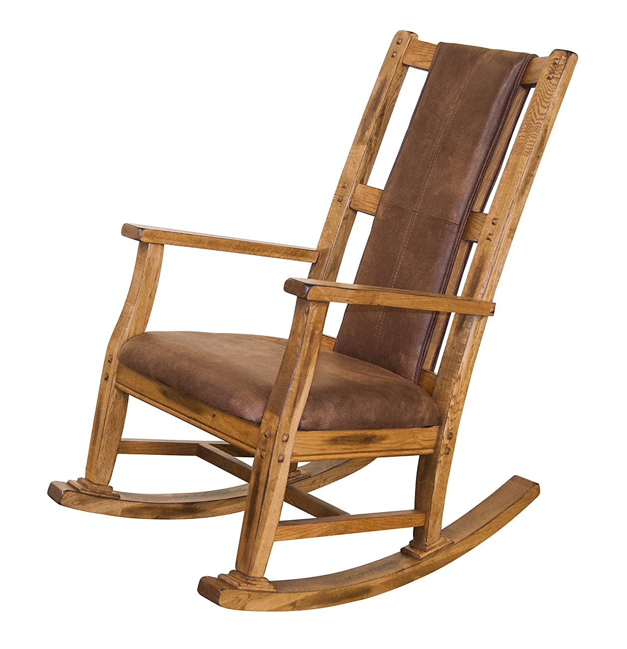 Sunny Designs 1935RO-2 Sedona Rocker with T-Fabric Seat and Back, Rustic Oak Finish 0