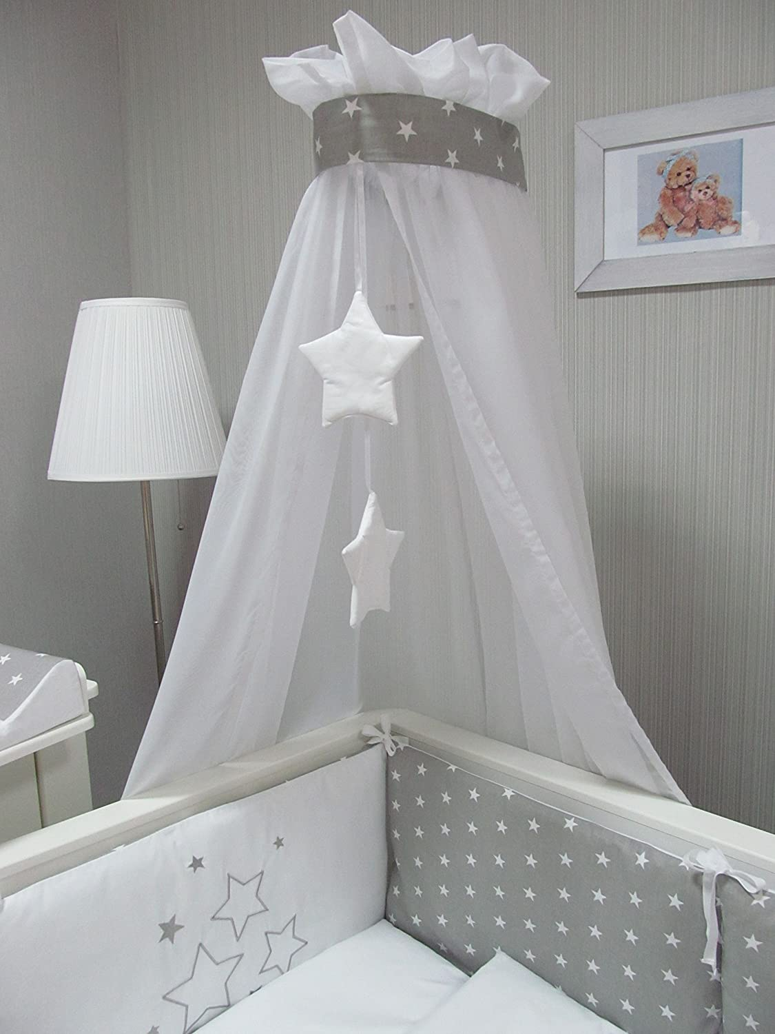 baby bettw sche set stars 4tlg bett set 100x135 voile babybett 70x140 sterne ebay. Black Bedroom Furniture Sets. Home Design Ideas