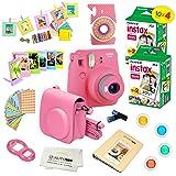 Fujifilm Instax Mini 9 Camera + Fuji INSTAX Instant Film (40 SHEETS) + 14 PC Instax Accessories kit Bundle, Includes; Instax Case + Album + Frames & Stickers + Lens Filters + MORE (Flamingo Pink)