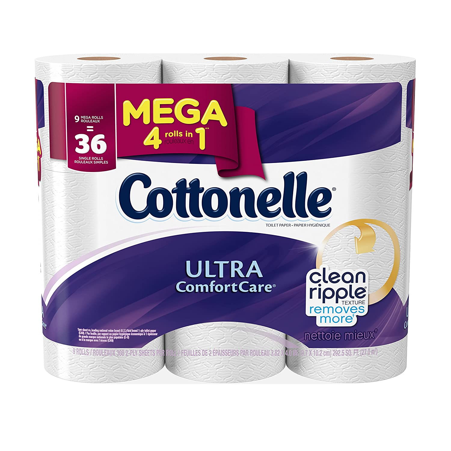 Cottonelle Ultra Comfort Care Mega Roll Toilet Paper, 9 Count