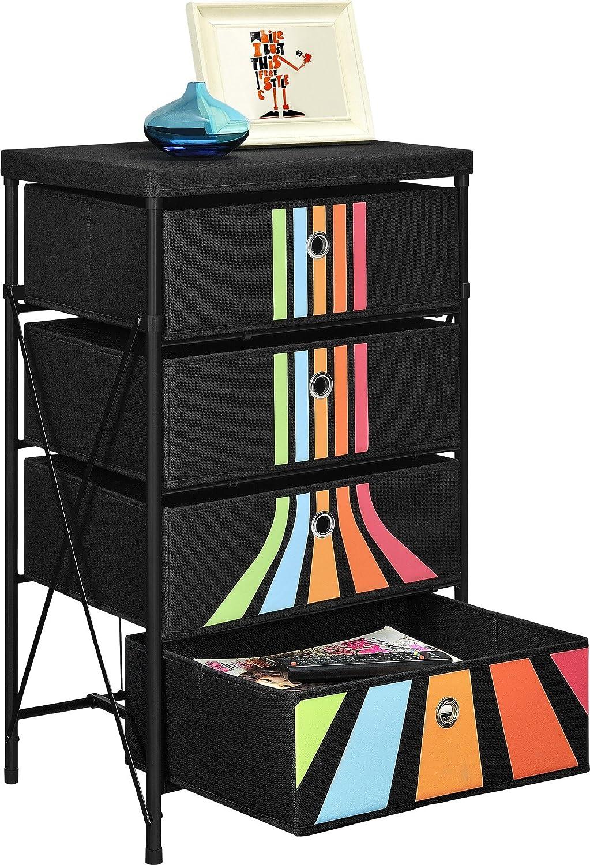 Kids Toy Organizer with 4 Drawers - Fabric Storage Bins, Black with Retro Stripes