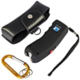 Stun Gun w/Flashlight, Panic Alarm, Rechargeable Internal Battery, Safety Pin, Wrist Strap, Carabiner & Clip-on Carry Case. Includes Quick Set-up and