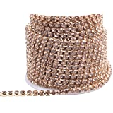KAOYOO 1 Roll 10 Yards Crystal Rhinestone Close Chain Trim, SS16/4.0mm, Golden Chain with Lct Crystal Beads (Color: Golden with Lct Beads, Tamaño: SS16/4.0mm)