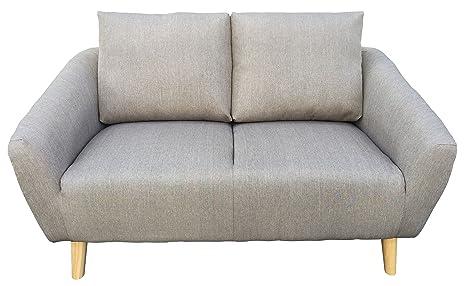 piushopping–Sofa 2Sitzer Sofa Stoff grau und Fuße aus Holz fur Möbel Haus Möbel Haus Wohnzimmer Kuche