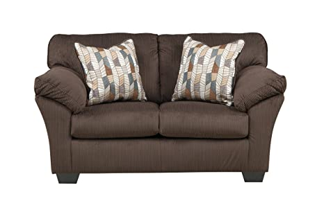 Aluria Contemporary Brown cord fabric Loveseat