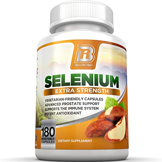 BRI Nutrition Selenium 180ct 200mcg Vegetable Formula - Superior Absorption Supplement - Essential Trace Mineral to Support Thyroid, Prostate and Heart Health - Yeast Free - Made in the USA