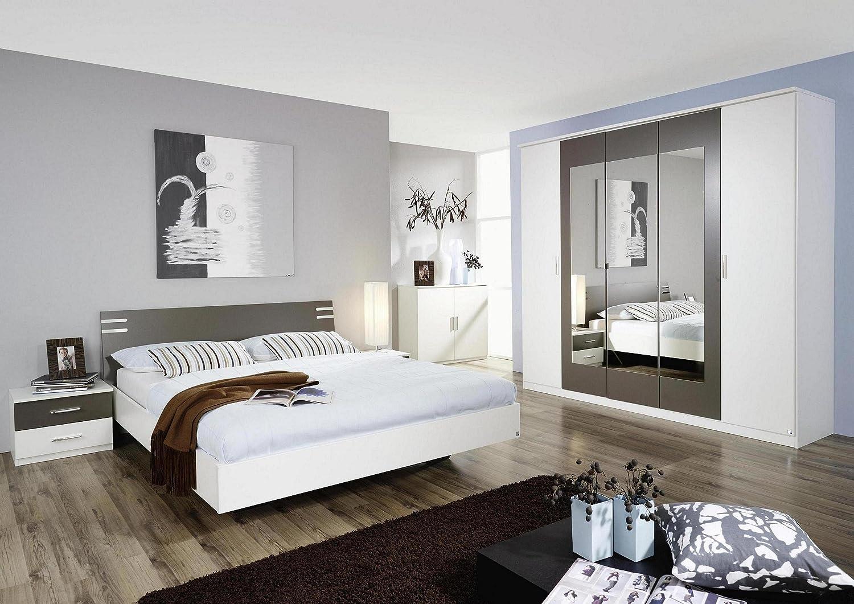 Schlafzimmer komplett mit Kleiderschrank 226cm alpinweiß mit Absetzungen bestellen