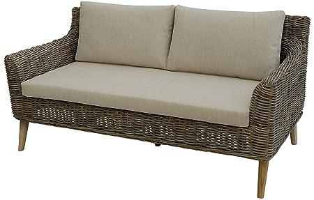 """Geschmackvolles Sofa """"Loui"""" aus hochwertigem Natur-Rattan / Elegante Couch fur stilbewusstes Einrichten (Grau)"""