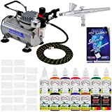 Master Airbrush® Brand Finger Nail Decorating System. 1 Airbrush, Air Compressor, Stencil Set of Over 100 Designs, 6' Hose, Kit of 12 Popular Nail Paint Colors in 2-oz Bottles, Airbrush Cleaner, & (Free) How to Airbrush Training Book to Get You Started. (Color: Silver)
