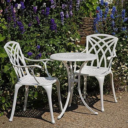 Lazy Susan - ELLA 60 cm Bistrotisch mit 2 Stuhlen - Rundes Gartenmöbel Set aus Metall, Weiß (APRIL Stuhle)
